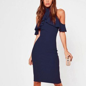 Missguided Navy Frill ColdShoulder Midi 6 NWT